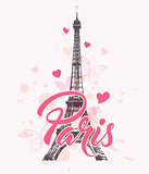 Romantic background with Eiffel Tower