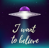 Fantastic background with UFO