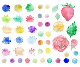 Watercolor blots and elements