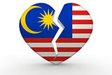 Broken white heart shape with Malaysia flag