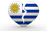 Broken white heart shape with Uruguay flag