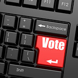 Red enter button on computer keyboard, Vote word