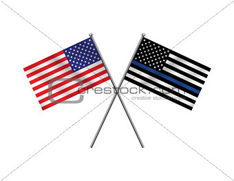 American Flag and Police Support Flag Illustration
