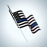 Symbolic Police Support American Flag Illustration