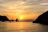 Ibiza island soft and quiet sunset