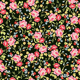 Seamless floral pattern with little pink roses, on black background.