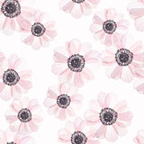 Seamless pattern with anemone in vintage watercolor style, vector illustration. Nature seamless pattern