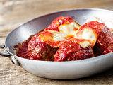 traditional classic italian meatball in tomato sauce