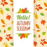 Fall leaves pattern and text.