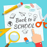 School supplies and greeting text.