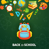 School bag and supplies.