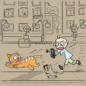 Boy with phone running for cat
