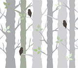 tree background with owls