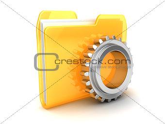 folder with gear wheel