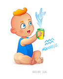 Zodiac sign Aquarius. Happy babyboy enjoys splashes in feeding cup. Water Game. Horoscope