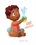 Zodiac sign Aquarius. African American Cute Girl Enjoys Splashes in Feeding Cup. Water Game