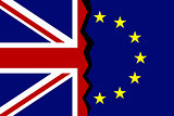 European Union and Great Britain flags concept.