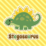Cute cartoon smiling stegosaurus on striped yellow background. Art vector illustration.