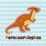 Cute cartoon smiling parasaurolophus on blue wave background.