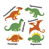 Set of cute cartoon dinosaurs isolated on white background.