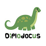Cute cartoon smiling diplodocus isolated on white background.