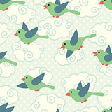 Seamless pattern with cute cartoon birds in the sky