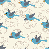 Seamless pattern with cute cartoon birds in the sky.