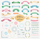 Vector Colorful Hand Drawn Design Elements and Ribbon Set