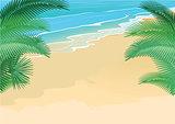 Summer, beach, palm trees