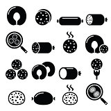 Black pudding sausage, haggis, white pudding icons set