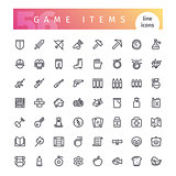 Game Items Line Icons Set
