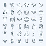 Line Barbecue Party Icons
