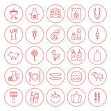 Line Circle BBQ Icons Set