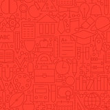 Line Education Red Seamless Pattern
