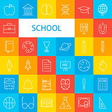Line School Icons Set