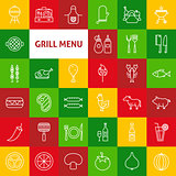 Vector Line Grill Menu Icons