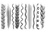 Hand drawn hair brush strokes