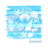 Blue vintage summer card