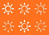 White vector summer sun design elements