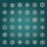 Vector White Hand Drawn Winter Snow Flakes Doodles