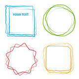 Vector illustration of design element grunge frames circles and squares.