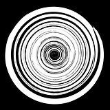 Grunge Round Pattern. White Spiral Splatter