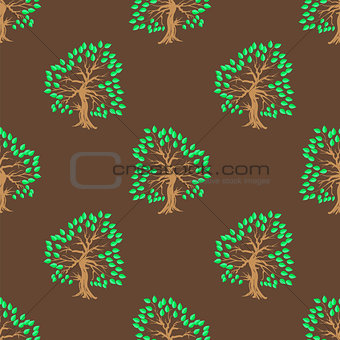 Green Tree Seamless Pattern.