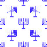 Silhouettes of Menorah Seamless Pattern