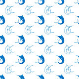 Set of Fish. Marlin Seamless Pattern