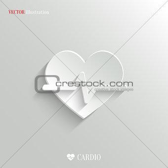 Cardiology icon - vector white app button