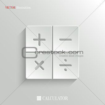 Calculator icon - vector white app button