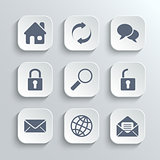 Web icons set - vector white app buttons