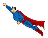 Vector Flying Superhero Illustraation. Icon action cartoon colored style. Comic book element design