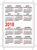 Grid pocket calendar 2018